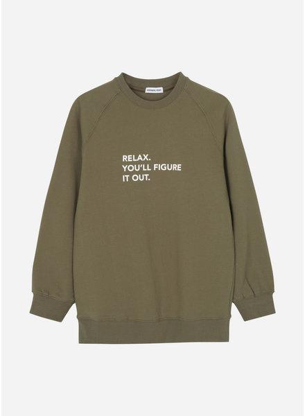 Designer Remix Girls willie printed sweatshirt green white print