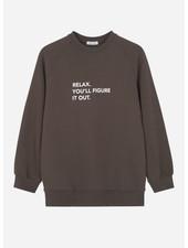 Designer Remix Girls willie printed sweatshirt dusty brown/white print