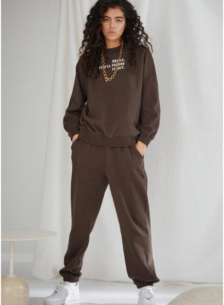 Designer Remix Girls willie printed sweat pant dusty brown white print