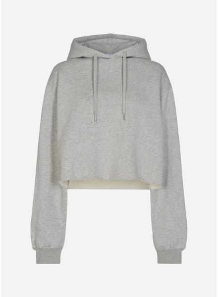 Designer Remix Girls willie embroidered cropped hoodie grey melange