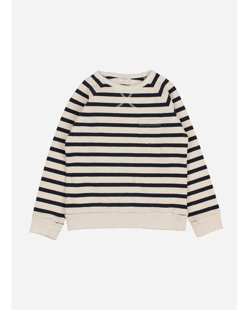 Buho navy stripes sweatshirt ecru