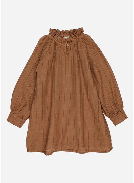 Buho check lurex dress muscade