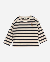 Buho baby navy stripes tshirt ecru