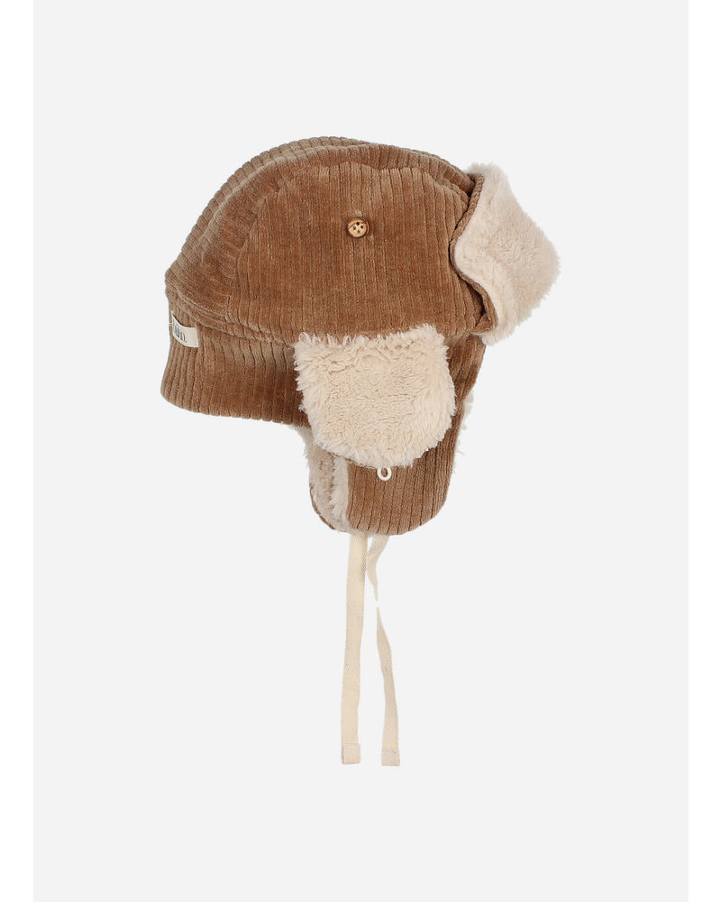 Buho baby knit velour hat muscade