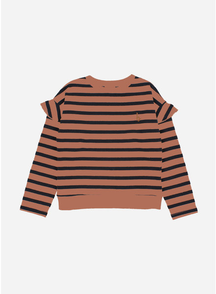 Buho ruffle navy stripes sweatshirt ecru