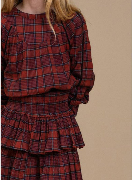 By Bar bobbie check blouse red check