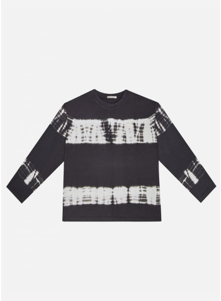 The New Society logo tee long sleeve tie dyed ash