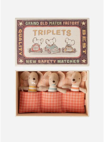 Maileg little baby mice triplets in matchbox