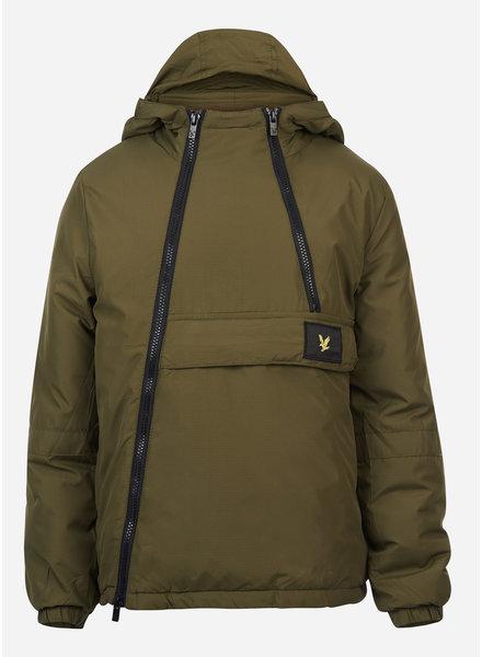 Lyle & Scott dual zip ripstop hooded jacket dark olive