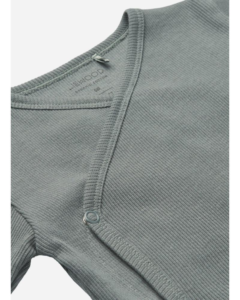 Liewood hali body stocking ls 2-pack blue fog/sandy mix