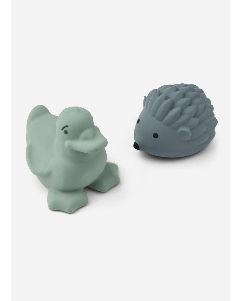 Liewood henrik bath toys 2-pack peppermint whale blue mix