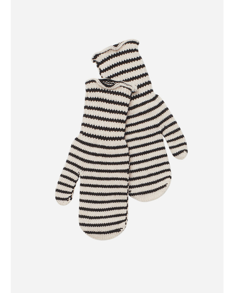 Mingo knit mittens monochrome stripes