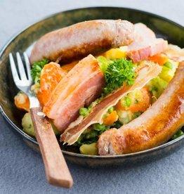 Groentenstoemp met spek en braadworst