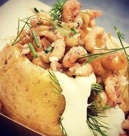 Aardappel met hand gepelde garnalen 100 gr