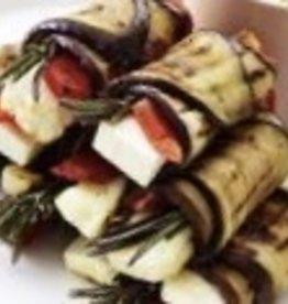 gegrilde aubergines met fetakaas en geroosterde rode paprika  3 st