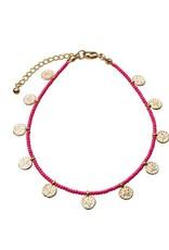Bulu Bulu golden coins anklet pink