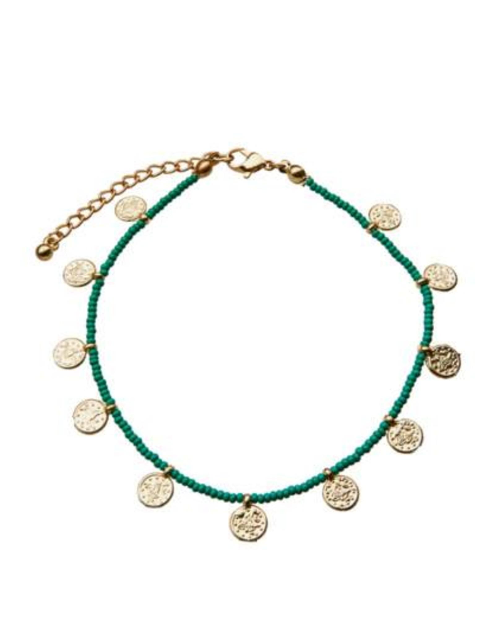 Bulu Bulu golden coins anklet green