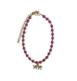 Bulu Bulu beaded leopard anklet pink