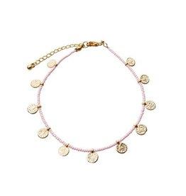 Bulu Bulu golden coins anklet light pink