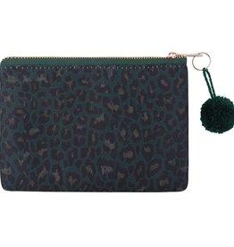 Clutch / Make Up Tas Leopard Love Groen