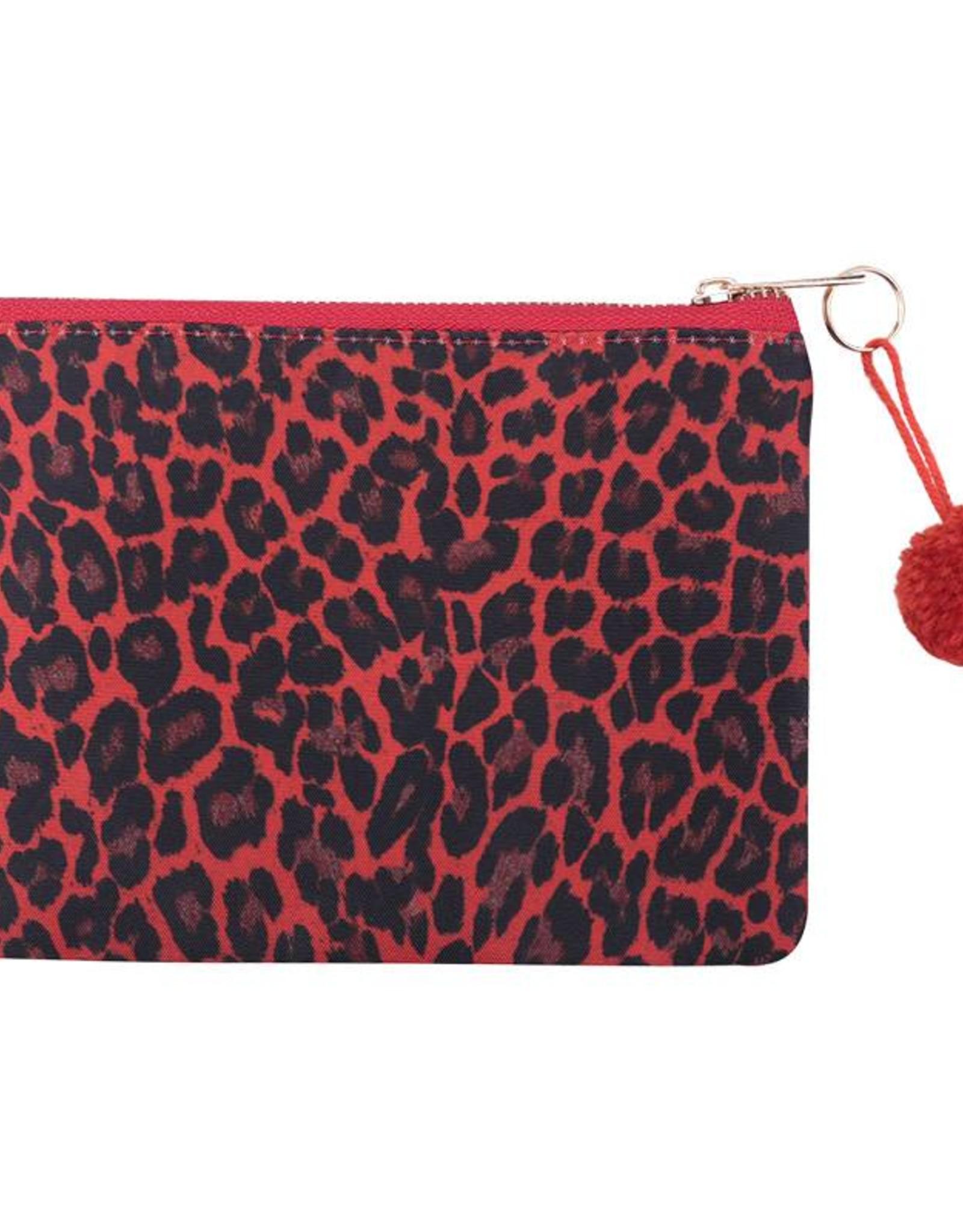 Clutch / Make Up Tas Leopard Love Rood