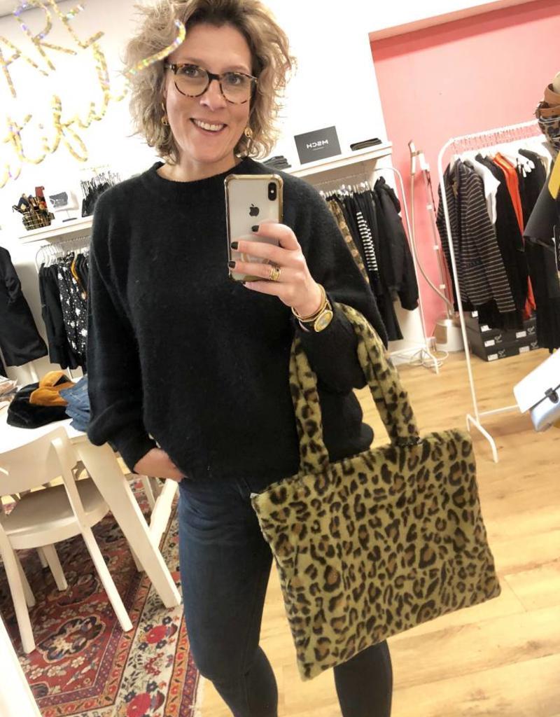 Handbag fake fur leopard green