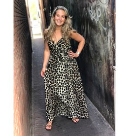 Maxi slip jurk leopard