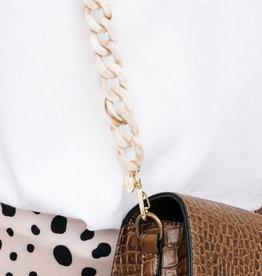 Bulu Bulu Marble Chain Bagbelt - Beige