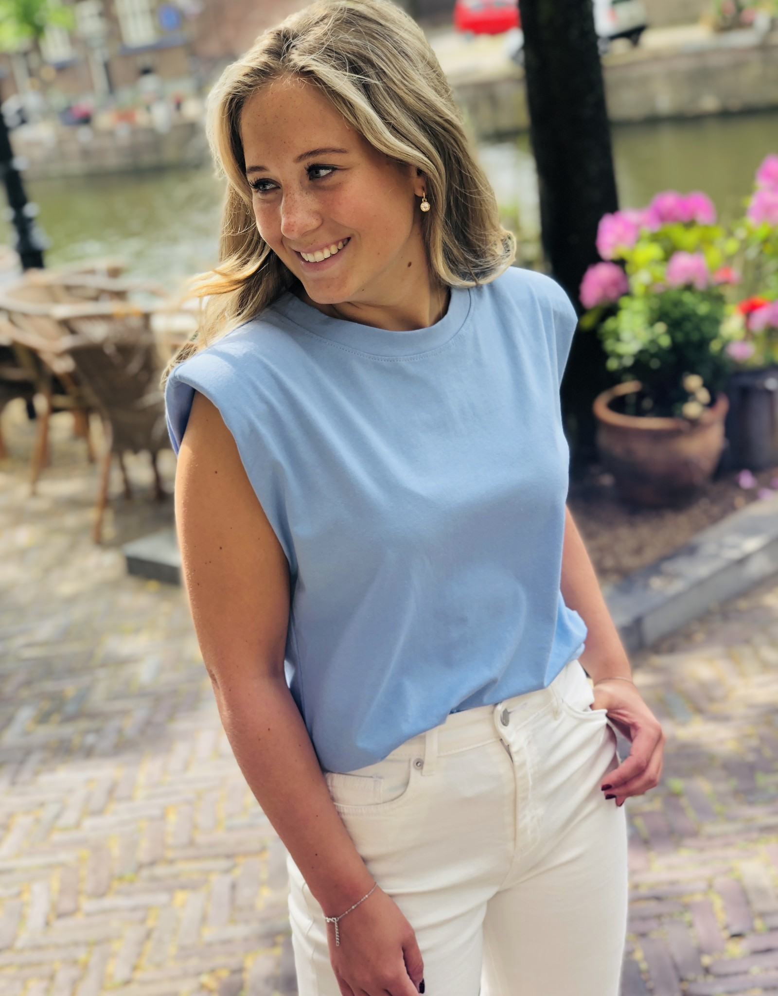 T-shirt Schouderpads Ambika Blauw