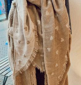 Sjaal Hartjes Ecru/zand