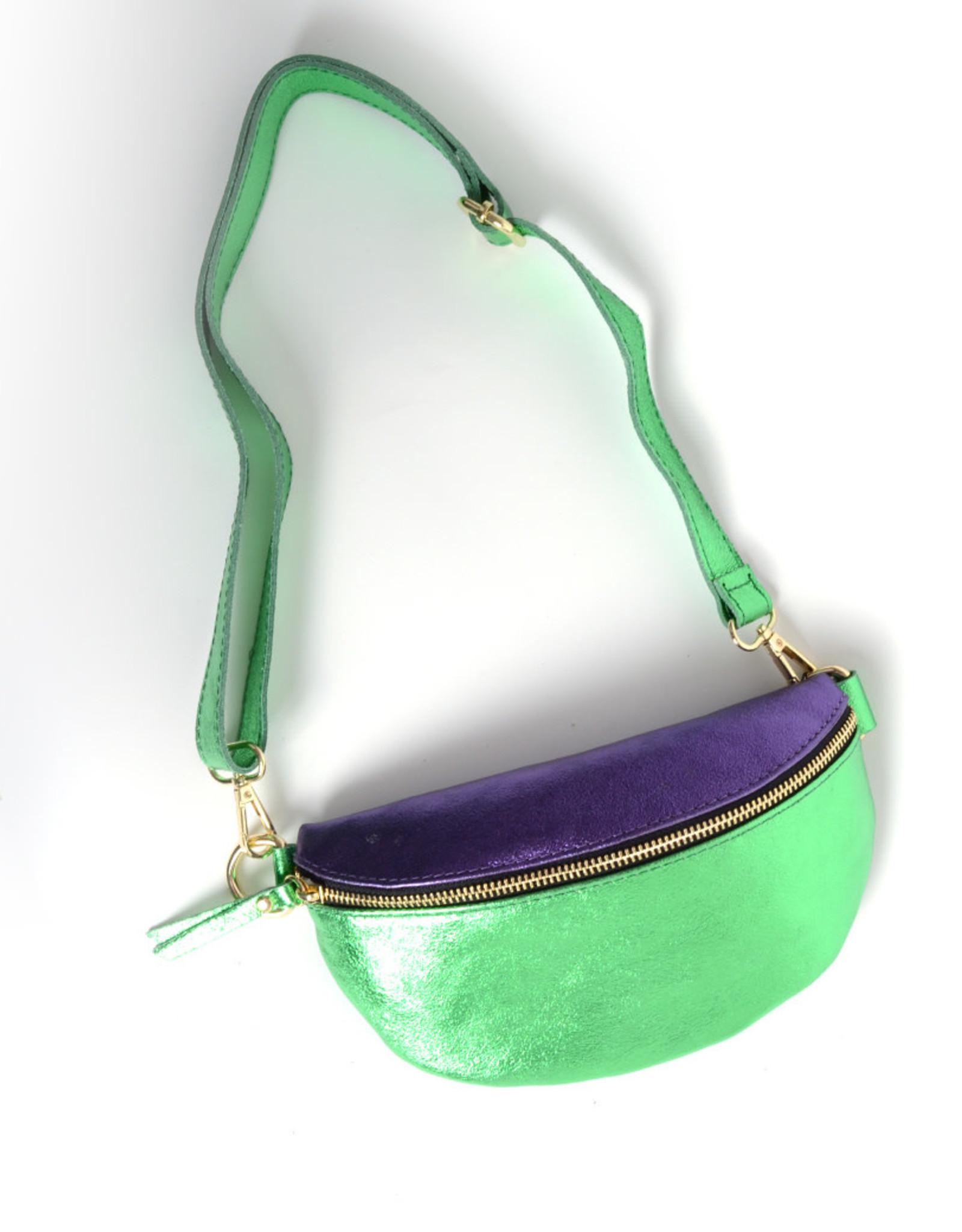 Leren Tas Tessa Metallic groen/paars