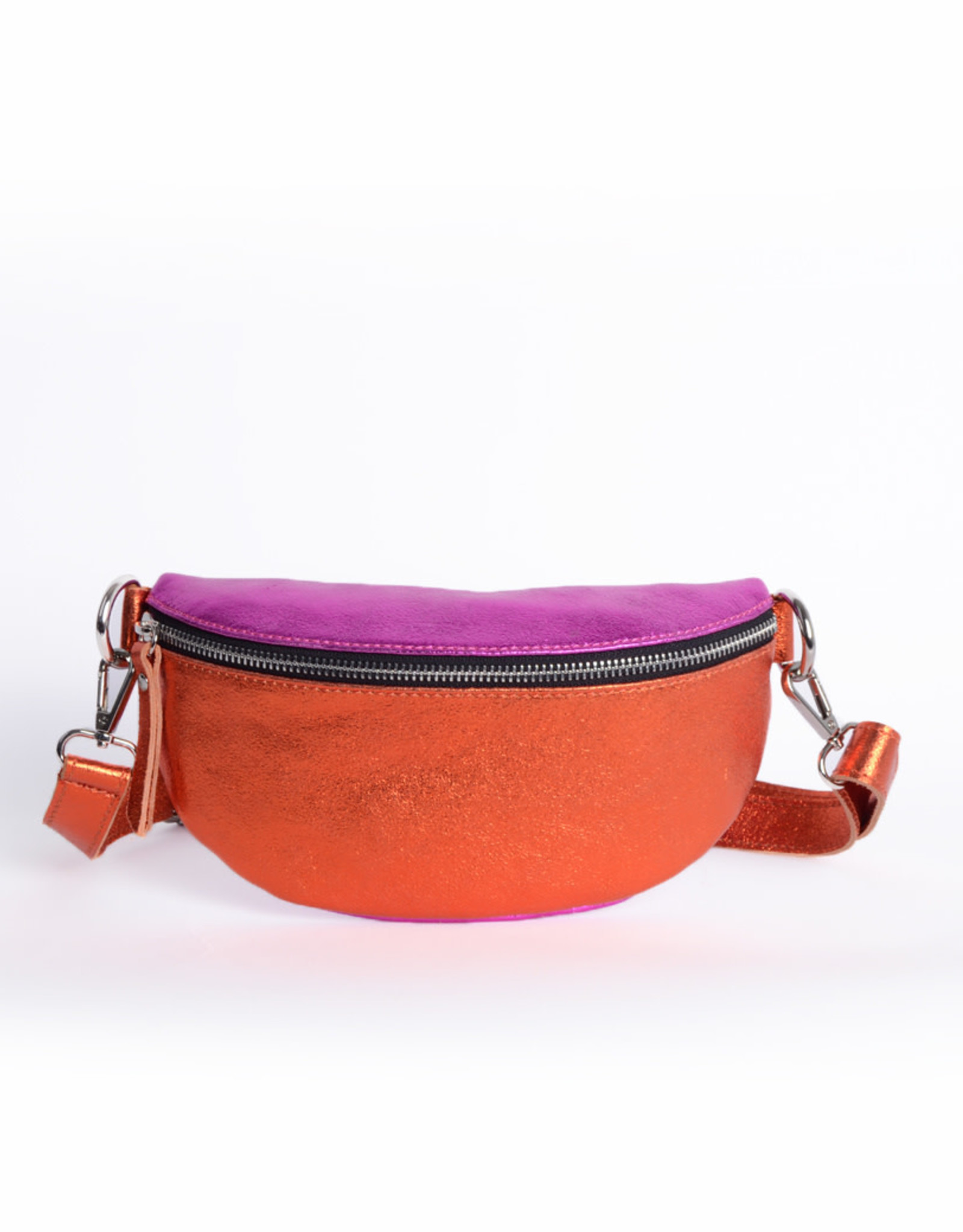 Leren Tas Tessa Metallic Oranje / Fuchsia
