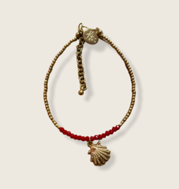 Bulu Bulu golden coins anklet shell red