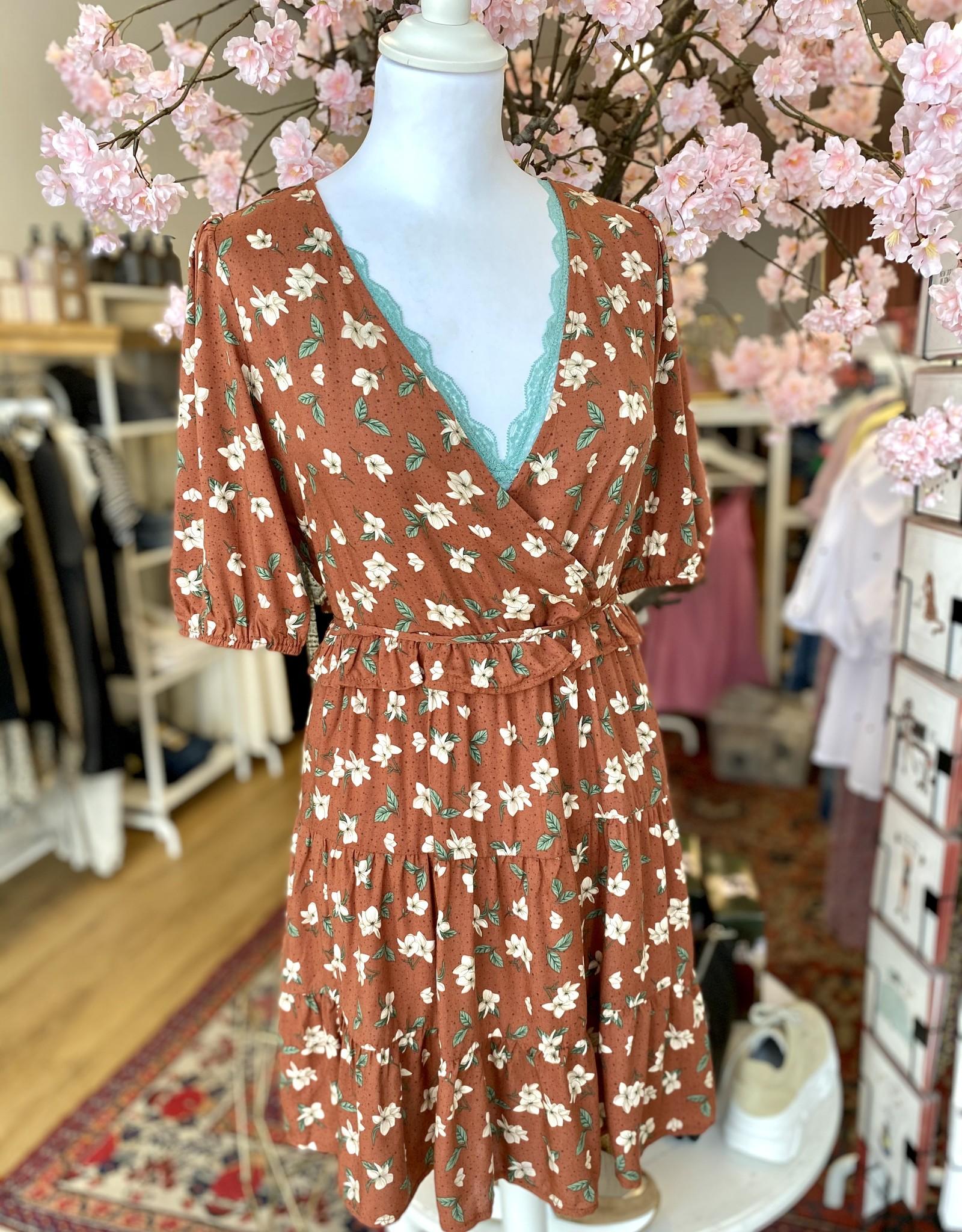 24Colours 24Colours Dress Brown Flower