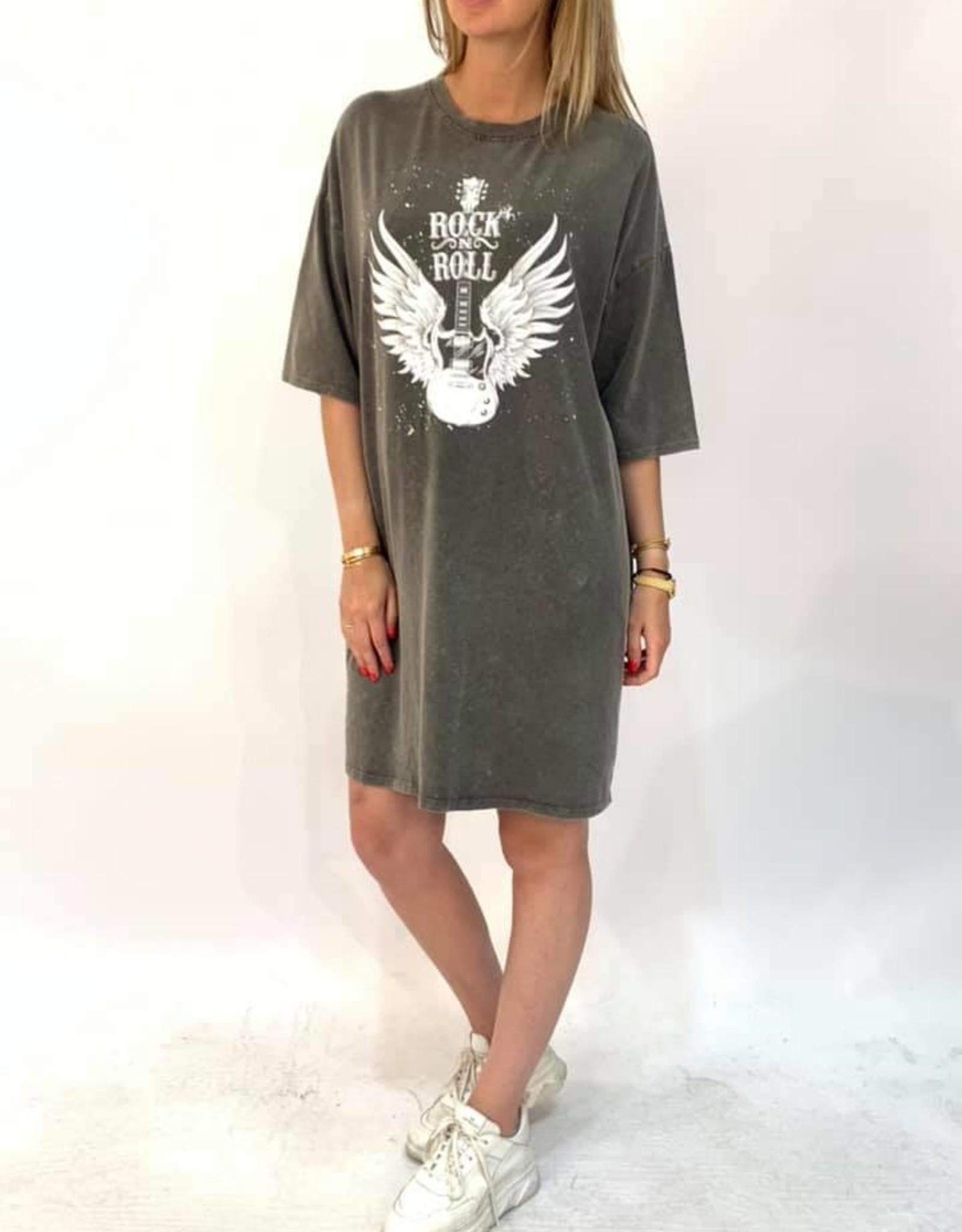 T-shirt Jurk Rock and Roll grijs
