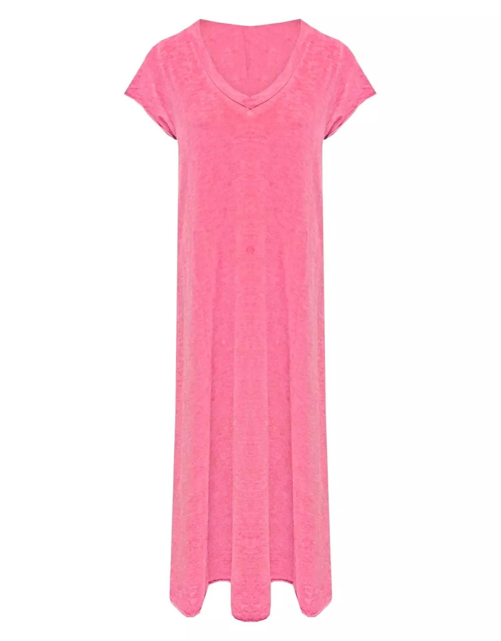 Maxi jurk v-hals Roze