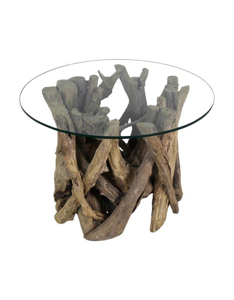 Salontafel Rond Teak.Hsm Collection Salontafel Rond Met Glas Teak Root