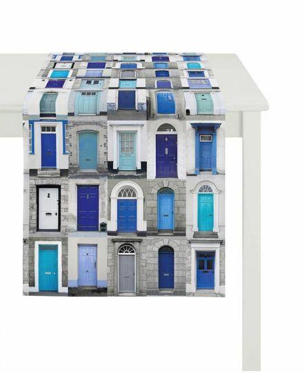 Apelt Tafelloper Blauwe deuren 48x140 cm