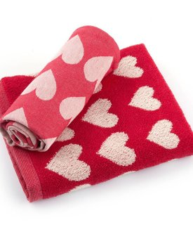 Bunzlau Castle keukendoek Hearts Red 53x60