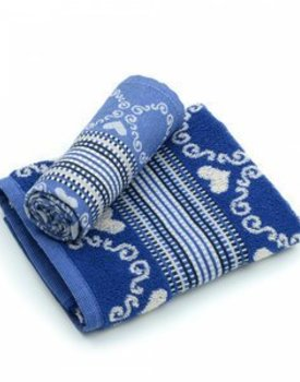 Bunzlau Castle theedoek Lace Royal Blue 65x65