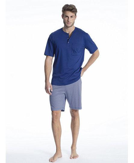 Calida herenpyjama 49761 kort blauw