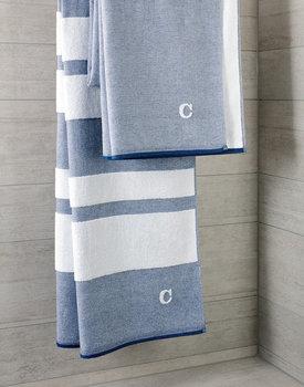 Cawo hamamdoek denim 80x200cm wit/blauw