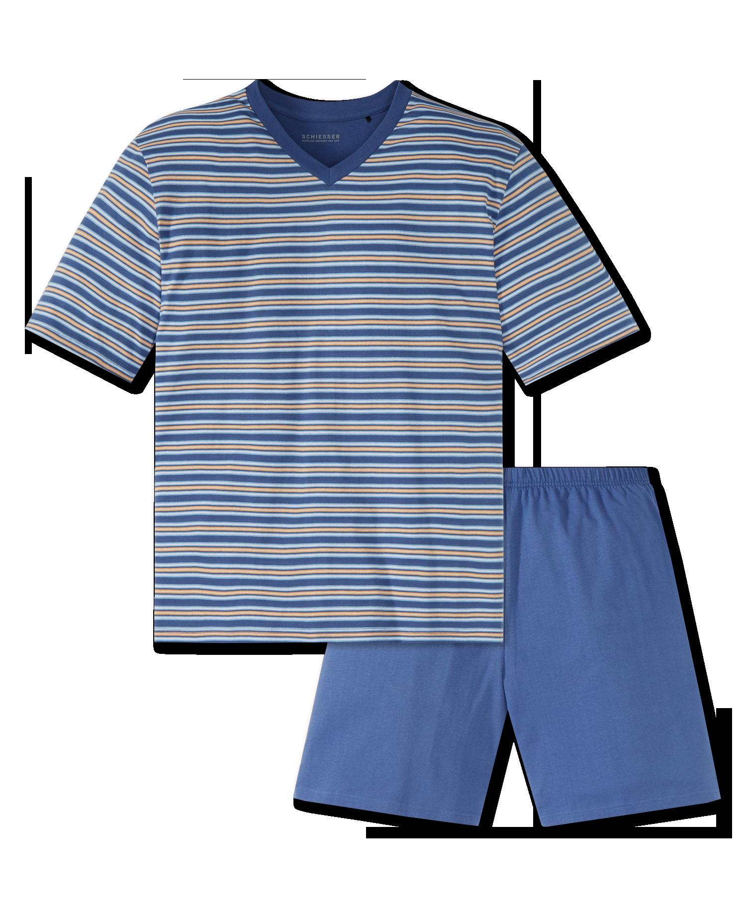 14872258954 Schiesser heren pyjama kort 166794 multi | Bedshop.nl