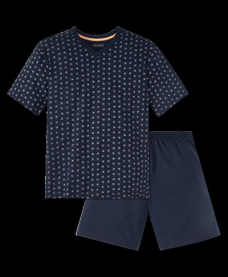 Schiesser heren pyjama kort 166788 blauw