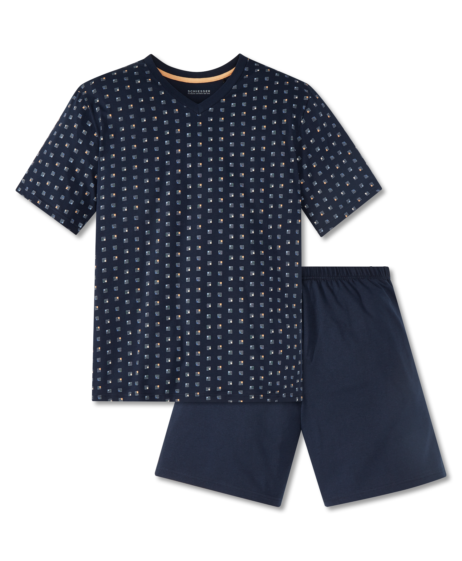 5951e2cd978 Schiesser heren pyjama kort 166788 blauw | Bedshop.nl