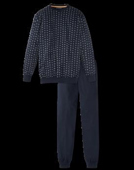 Schiesser herenpyjama 166787 blok blauw