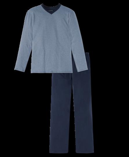 Schiesser herenpyjama 166790 lang streep blauw