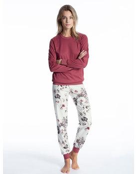 Calida dames pyjama 49803 maroon mauve