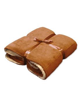 Unique Living fleece deken Coby hazel brown