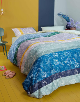 Oilily dekbedovertrek Blooming Stripe blauw
